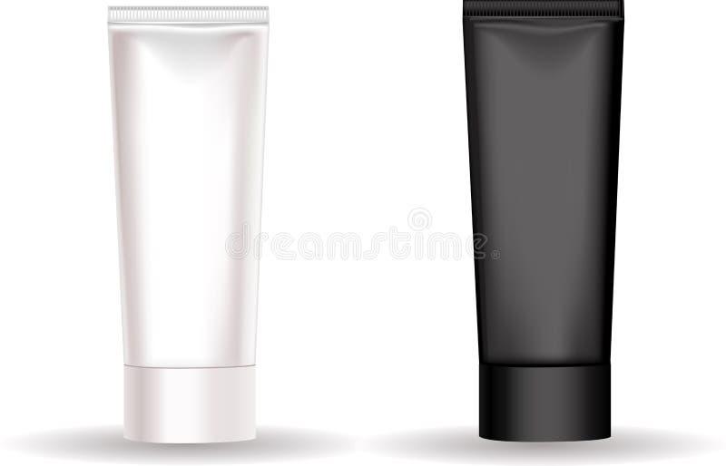 Tube noir et blanc pour une crème ou un produit de beauté différent illustration de vecteur
