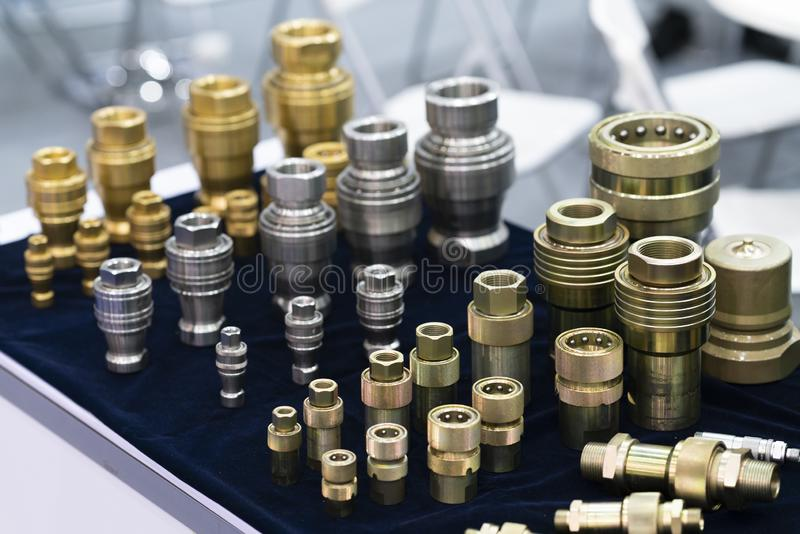Industrial quick coupling make by steel, stainless, brass. Tube quick connect fitting coupling. joint hose oil, water, air time reduce and prevent leak stock image