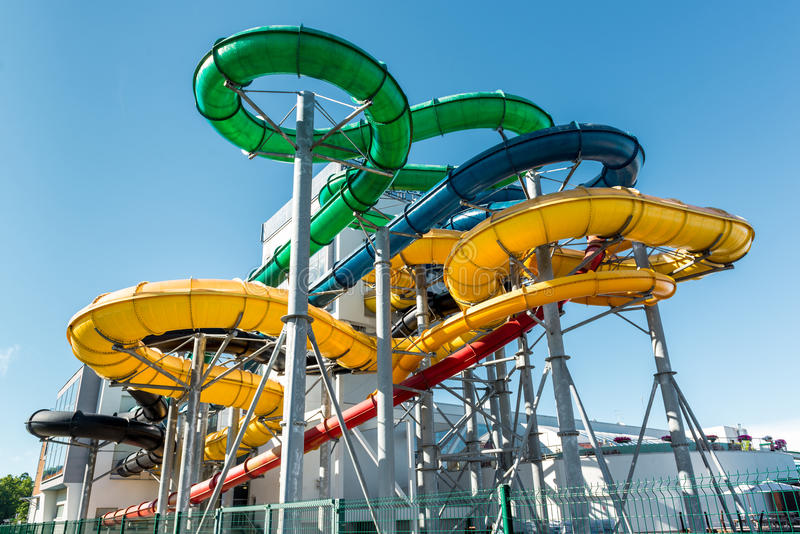 Tube slides at water park royalty free stock photography
