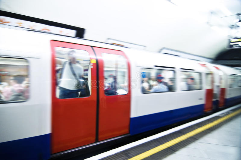 Tube train in London. Tube train leaving station on London's Northern line royalty free stock photo
