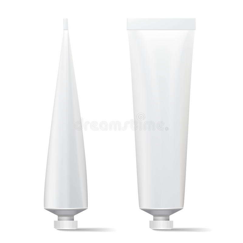 Tube Vector Mock Up. Clean Template. Blank Plastic Tube Of Cream, Shampoo, Tooth Paste, Glue. On White vector illustration