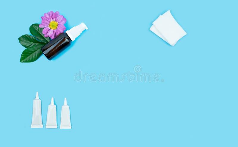 Tube vide de bouteille et de crème de peau décorer des fleurs illustration libre de droits