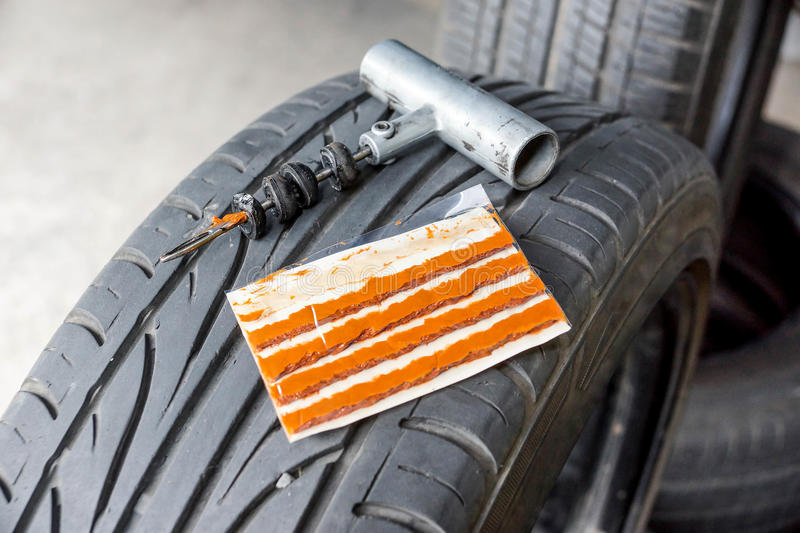 Tubeless Tire Puncture Repair Kit. For Car and Bike royalty free stock photos