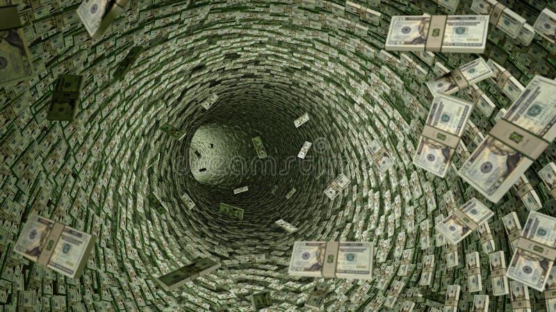 Tubería del dólar - porciones de 20 billetes de dólar stock de ilustración