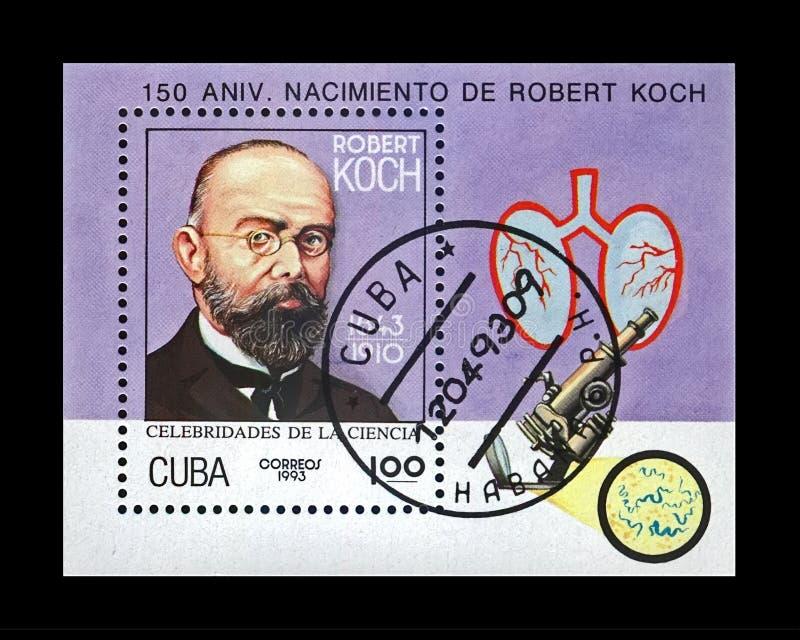 Tuberculosewetenschapper, ontdekkingsreiziger Robert Koch, circa 1993, Cuba, circa 1993, royalty-vrije stock afbeelding