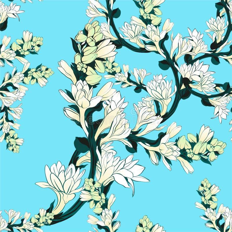 Tuberose - ramos Vector o teste padrão sem emenda plantas medicinais, da perfumaria e do cosmético wallpaper Use materiais impres ilustração royalty free