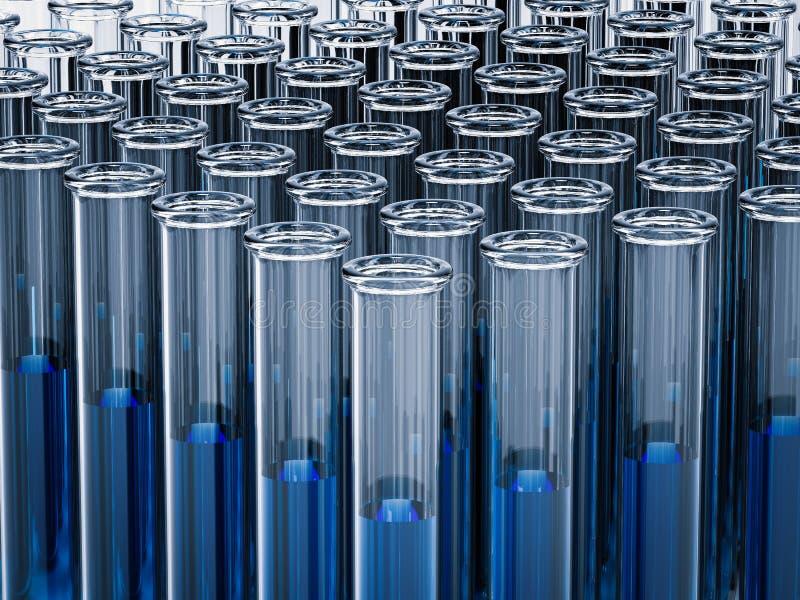 Tubes à essai avec le liquide bleu image libre de droits