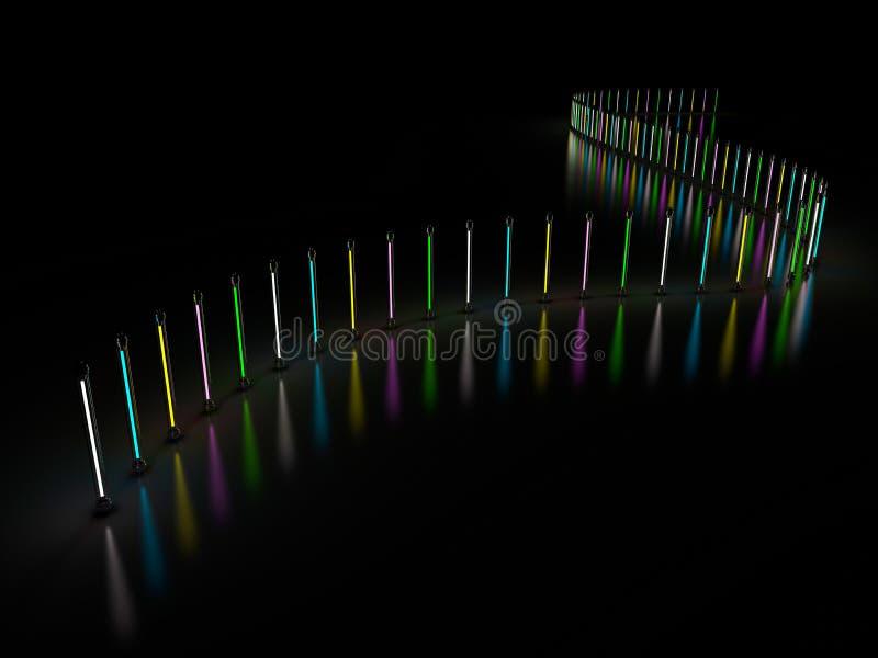 Tubes au néon de lampe légère d'éclairage rougeoyant dans la chambre noire 3d illustration libre de droits
