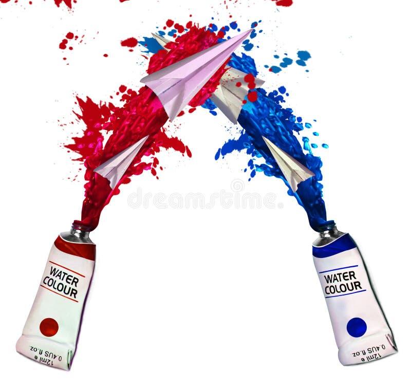 Tubes avec des couleurs d'eau lumineuses éclaboussées photographie stock libre de droits