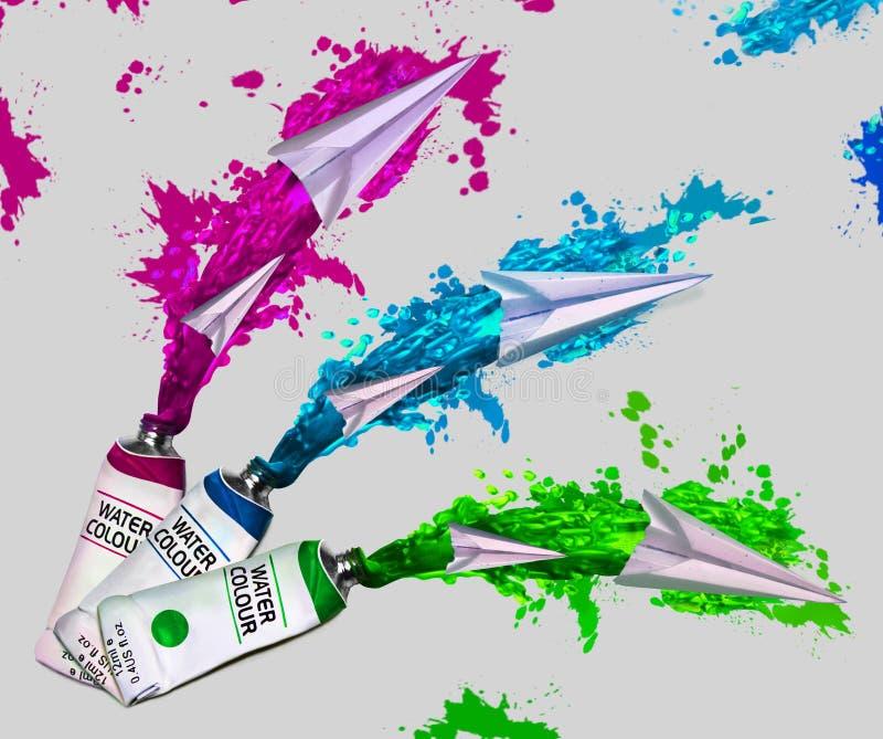 Tubes avec des couleurs d'eau lumineuses éclaboussées image libre de droits