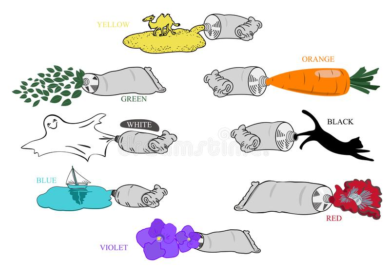Tubes avec les peintures colorées et les exemples de couleurs illustration de vecteur