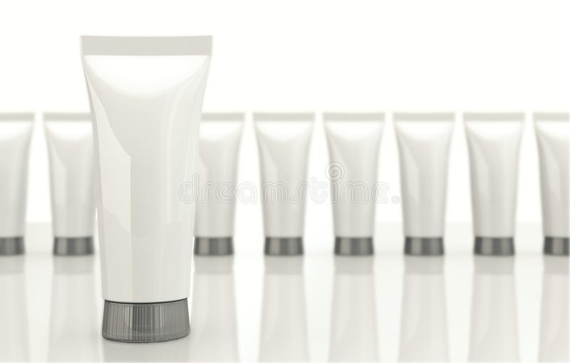 Tubes with cosmetic cream isolated on white. 3d Illustration stock illustration