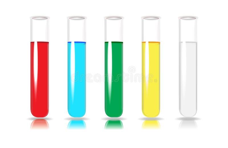 Tubes d'essai en laboratoire. Ensemble de cinq tubes colorés. illustration stock