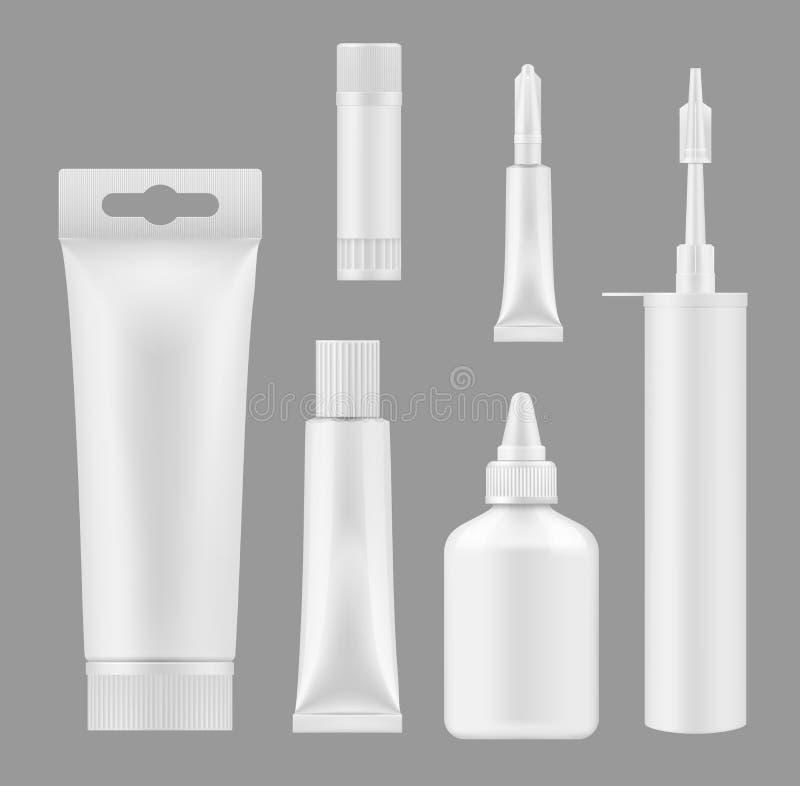 Tubes de colle, maquettes des conteneurs 3D de mastic de silicium illustration libre de droits