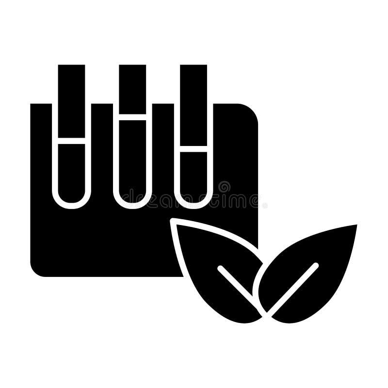 Tubes de laboratoire avec l'icône solide de signe d'eco Flacon de laboratoire avec l'illustration de vecteur de feuilles d'isolem illustration de vecteur