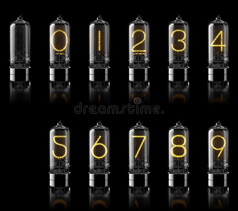 Tubes de Nixie avec des chiffres d'isolement sur le noir rendu 3d image libre de droits