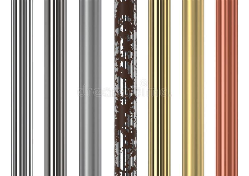 Tubes et tuyaux sans couture en métal illustration de vecteur