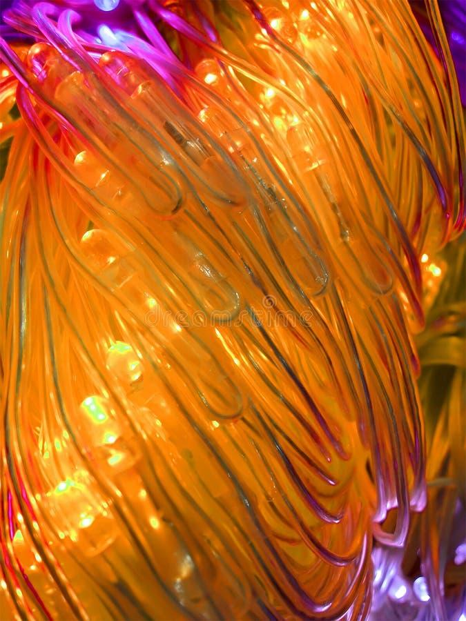 Tubes lumineux puissants jaunes abstraits, pouvoir, photo libre de droits