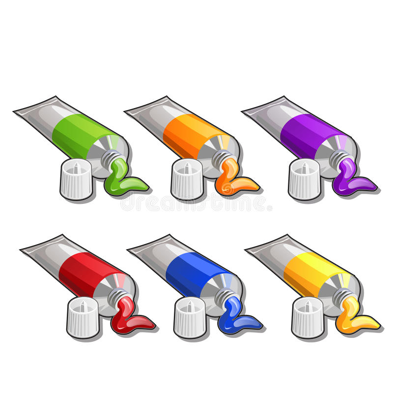 Tubes of paint, six different colors. Vector stock illustration