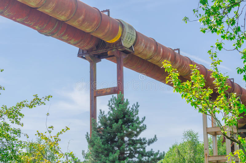Tubes, pipeline in disused industrial site royalty free stock image