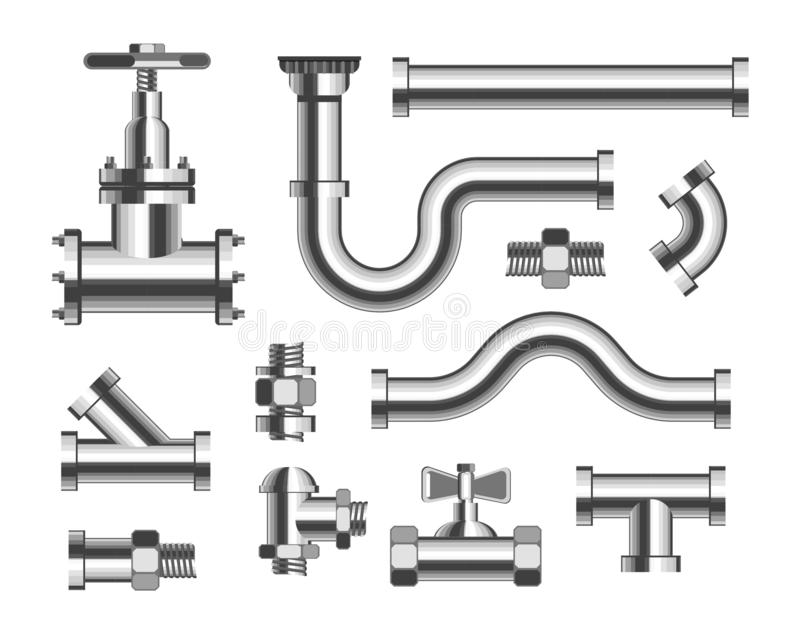 Tubes and piping plumbing and canalization isolated metal pipeline elements. Plumbing material tubes and piping and canalization isolated metal pipeline elements stock illustration