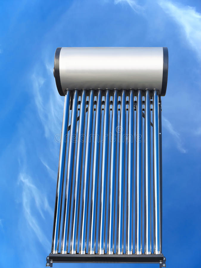 Tubes of solar water heater over blue sky. Background stock images