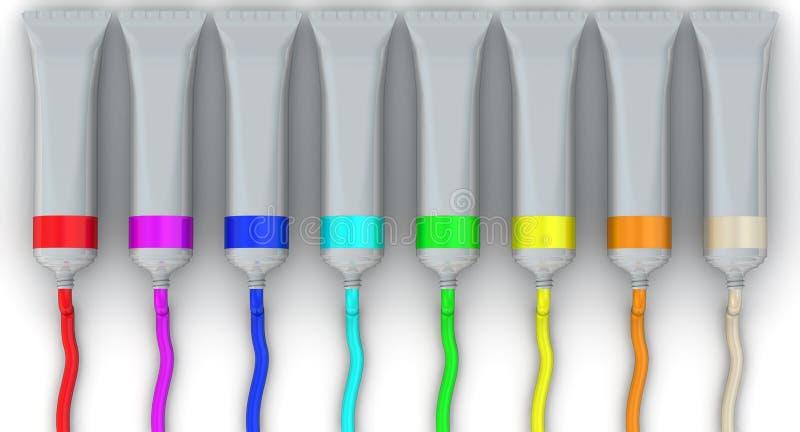Tubi aperti di pittura illustrazione di stock
