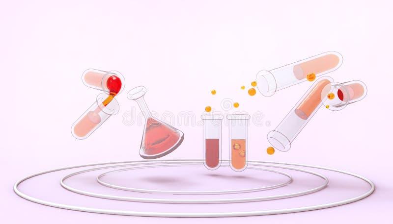 Tubi chimici di scienza della vetreria per laboratorio con il concetto e l'industriale liquidi porpora pastello di biotecnologia  illustrazione di stock