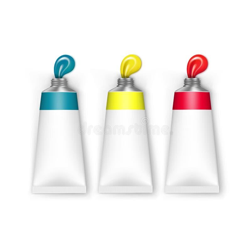 Tubi colorati di vettore di pittura isolati su bianco illustrazione di stock