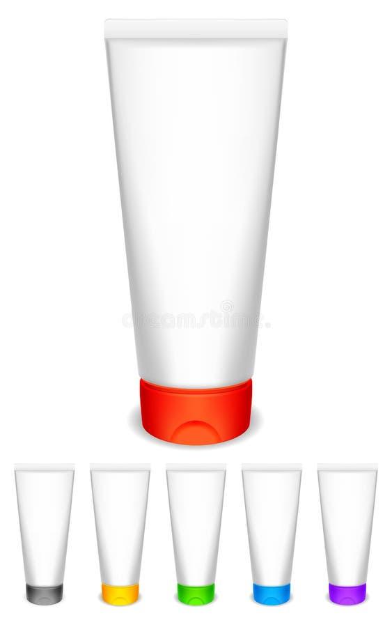 Tubi crema con i cappucci di colore. illustrazione di stock