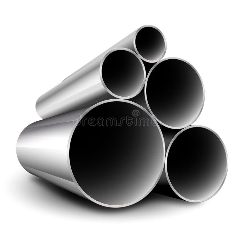 Tubi d'acciaio del metallo illustrazione di stock