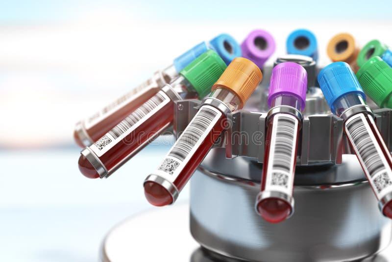 Tubi dell'analisi del sangue nella centrifuga Preparazione del plasma nella h medica illustrazione di stock