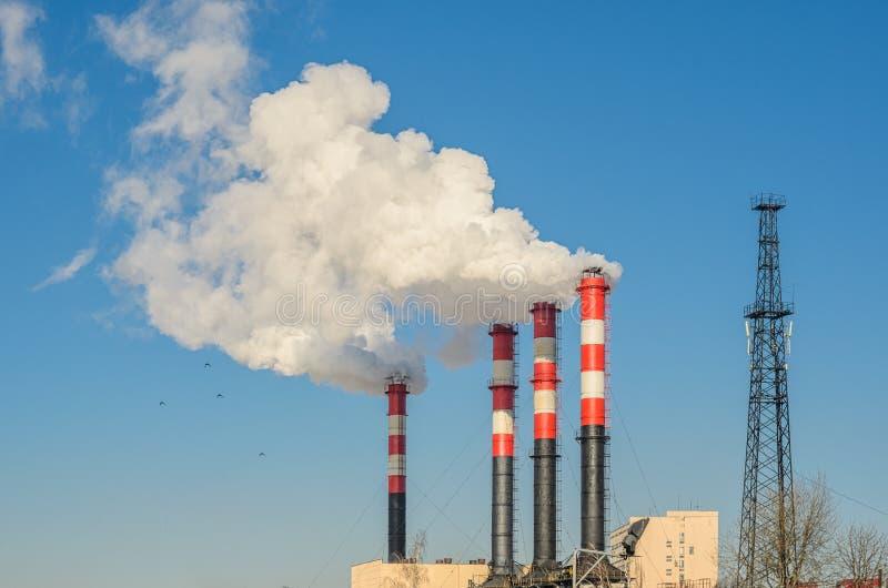 Tubi della pianta con fumo contro cielo blu fotografie stock libere da diritti