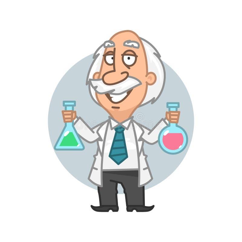 Tubi della tenuta di professore con gli elementi chimici royalty illustrazione gratis