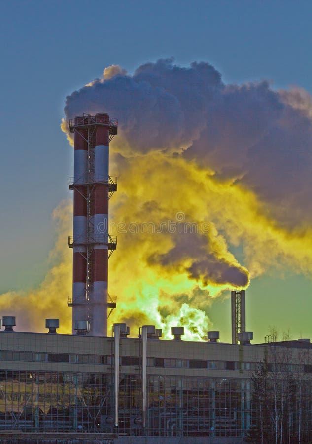 Tubi di fumo nella pianta nel primo mattino immagini stock