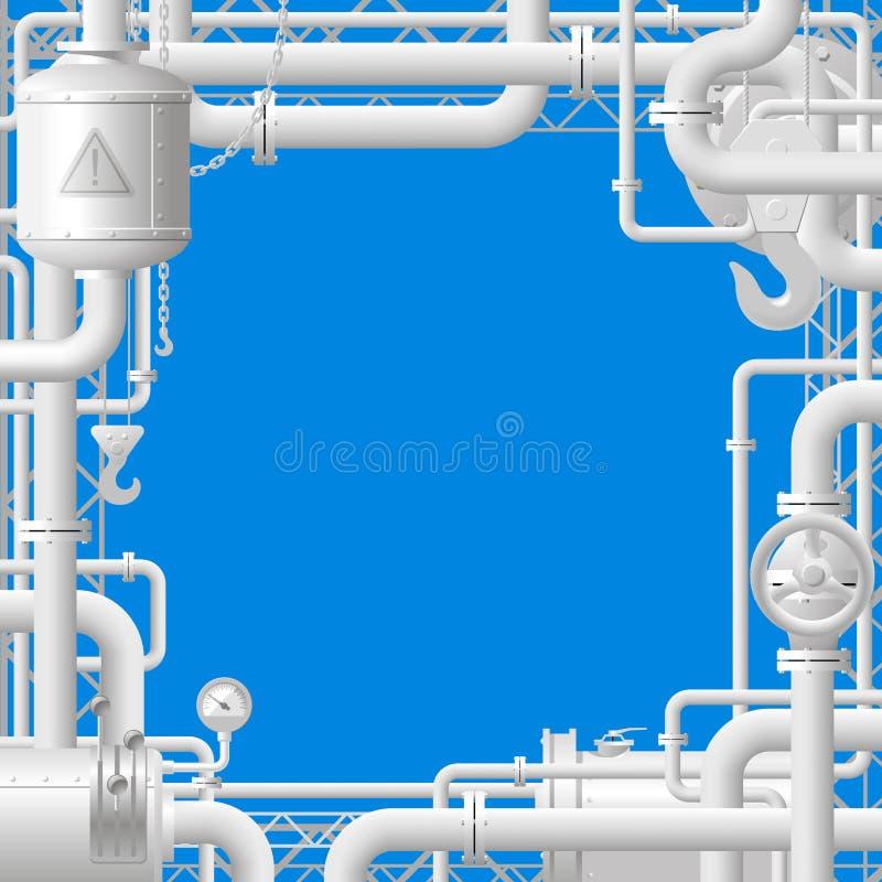 Tubi di gas bianchi su fondo blu illustrazione vettoriale