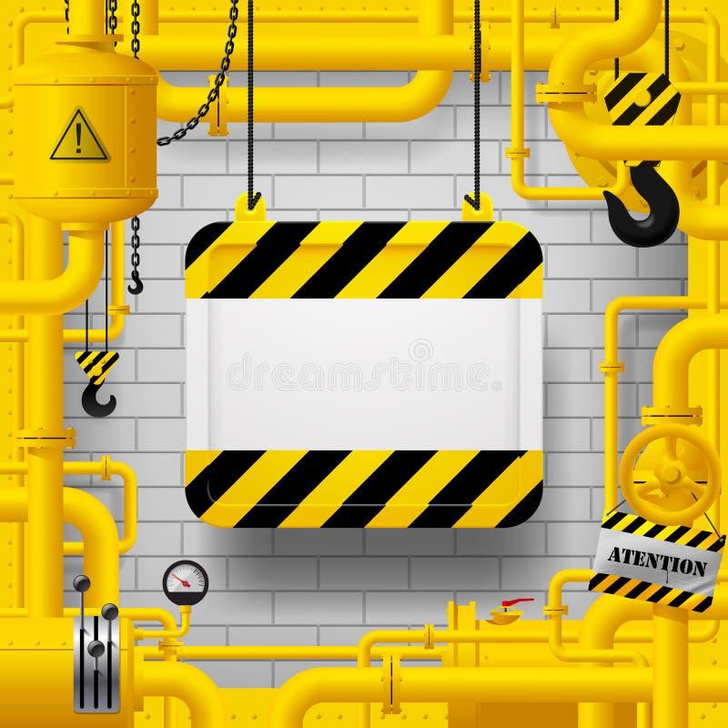 Tubi di gas gialli e segno sospeso con la banda gialla e nera royalty illustrazione gratis