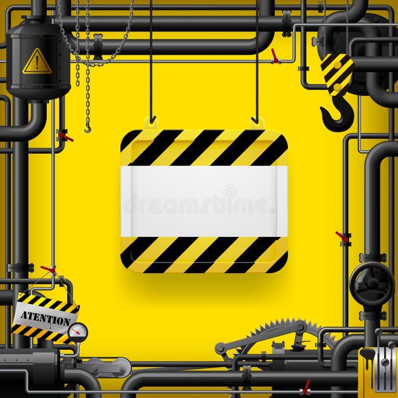 Tubi di gas neri e segno sospeso con le bande gialle e nere illustrazione vettoriale