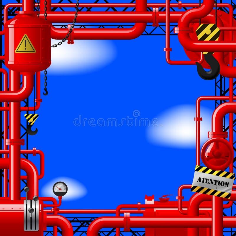 Tubi di gas rossi su cielo blu illustrazione di stock