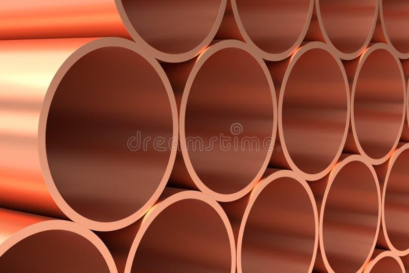 Tubi di rame brillanti in primo piano di file illustrazione vettoriale