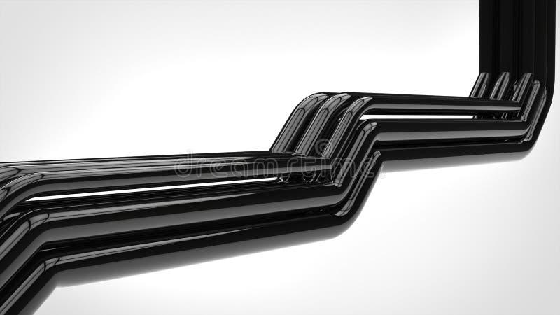 Tubi neri brillanti di Apstract illustrazione di stock