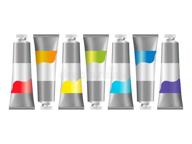 Tubi realistici della pittura ad olio 3d Insieme del modello dei tubi metallici per petrolio o pittura acrilica royalty illustrazione gratis