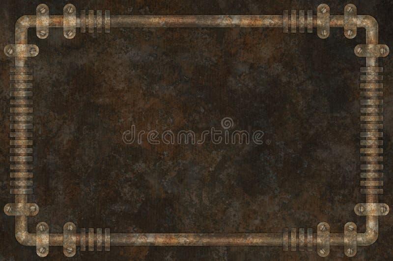 Tubi scuri ed arrugginiti sulla struttura industriale del fondo dello steampunk dell'estratto della parete illustrazione vettoriale