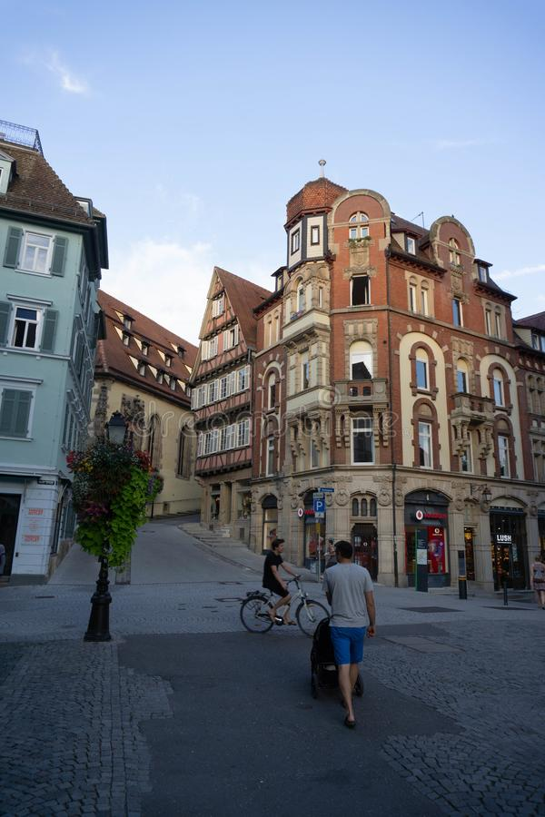 TUBINGEN/GERMANY-JULY 31 2018: a classic European-style building at a crossroads, is vodafone`s shop in Tubingen stock photography