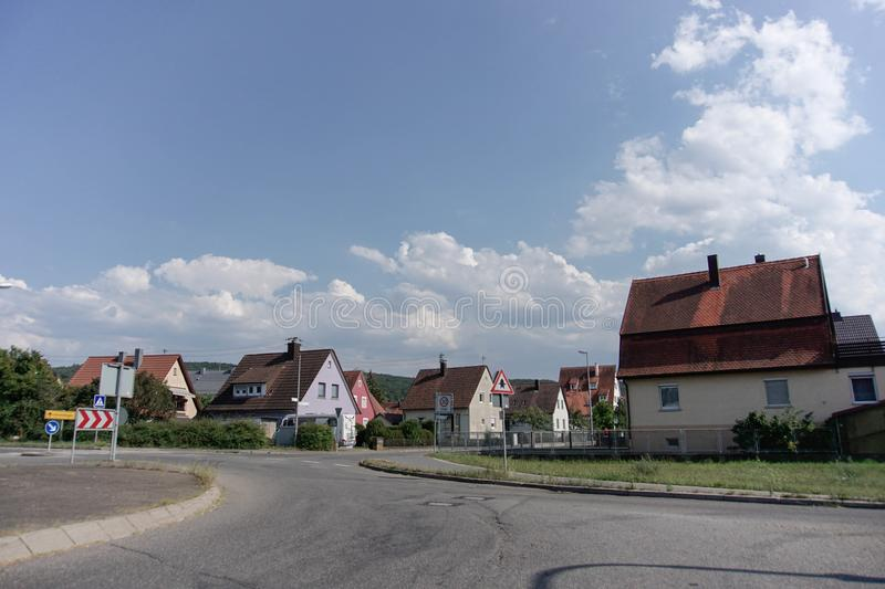 TUBINGEN/GERMANY-JULY 31 2018: House buildings and roads around the city of Tubingen. Some buildings look still retain the classic stock photo