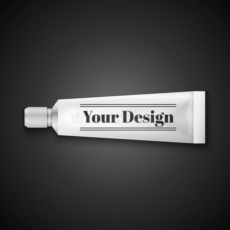 Tubka pasta do zębów, śmietanki Lub Gel Grayscale srebro, ilustracja wektor