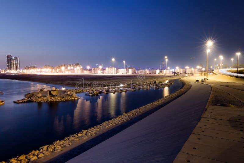 Tubli zatoka przy nocą, Bahrajn obraz stock