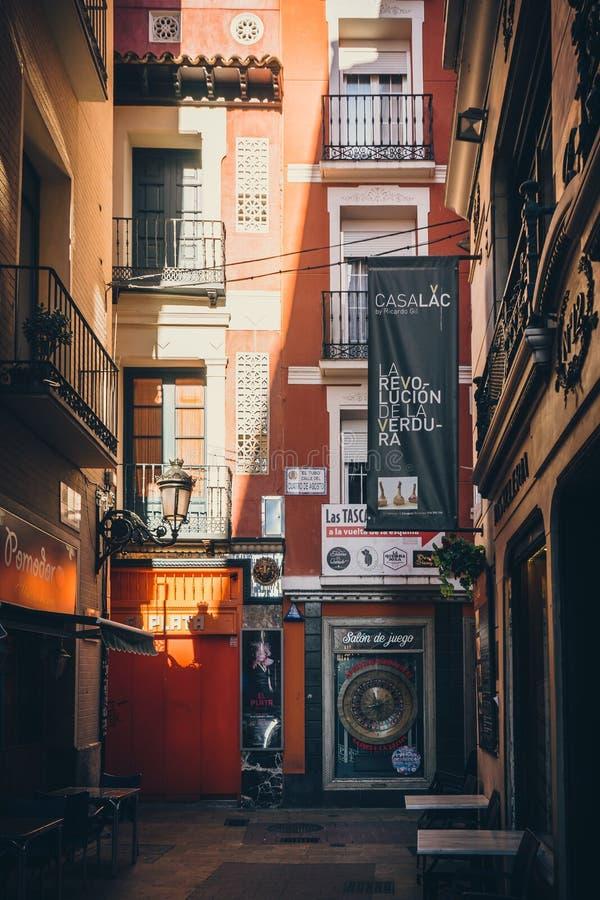 Tubo街在萨瓦格萨,西班牙 免版税库存照片