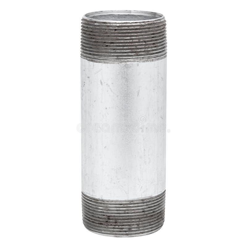Tubo aislado del metal con el hilo en el fondo blanco foto de archivo libre de regalías