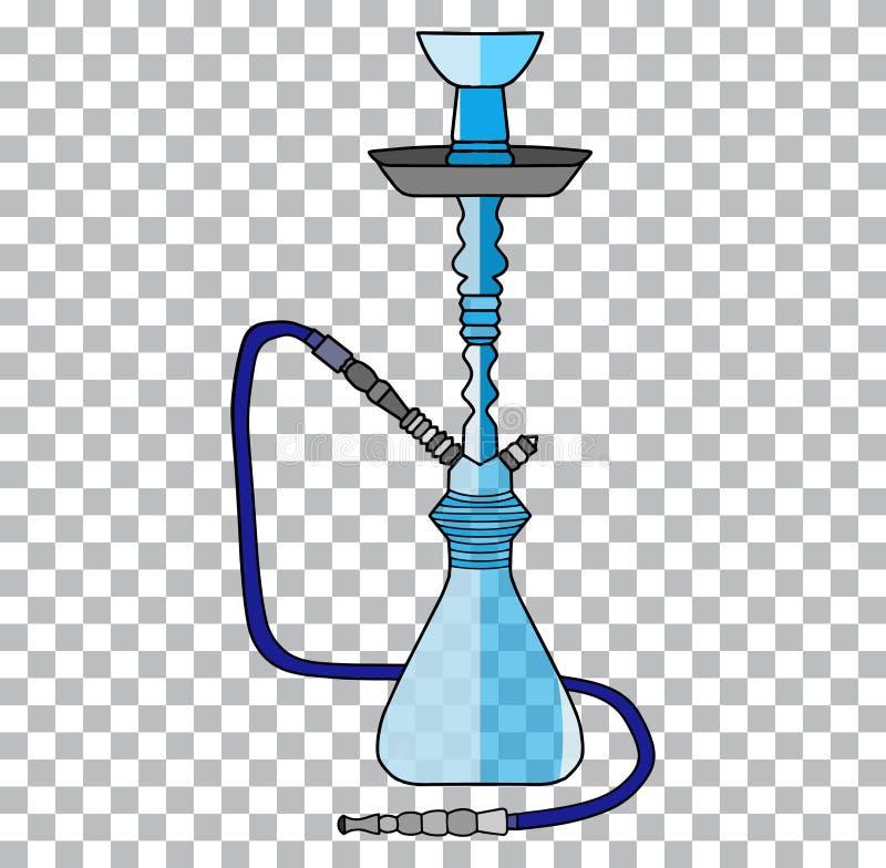 Tubo arabo del tabacco del narghilé e simbolo tradizionale del narghilé turco di rilassamento un fondo trasparente illustrazione di stock